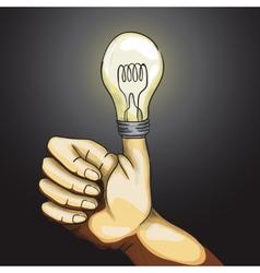 Ok Hand Lamp Bulb vector image