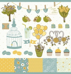 Bright set for wedding design vector