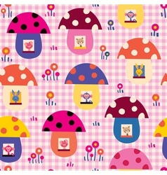 Cute baby animals in mushroom houses kids pattern vector