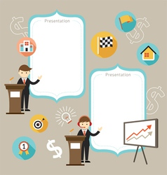 Businessman show success achievement vector