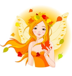 Autumn fairy with maple leaf vector