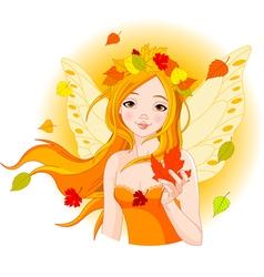 autumn fairy with maple leaf vector image