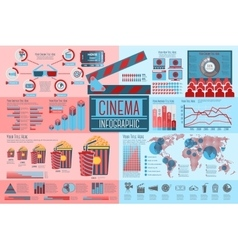 Set of cinema infographic elements with icons vector
