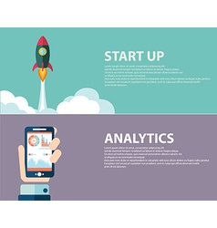 Analysis and start up concept web banner design vector