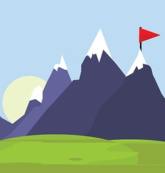 Flag on mountain vector