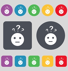 Question mark and man incomprehension icon sign a vector