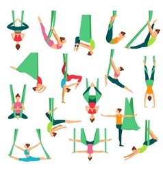 Aero yoga decorative icons set vector