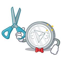 Barber tron coin character cartoon vector