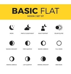 Basic set of moon icons vector