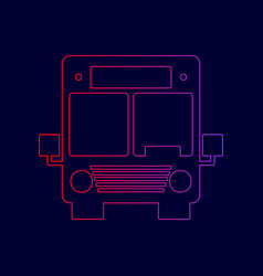 Bus sign line icon with vector