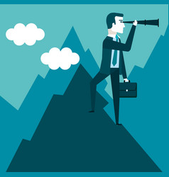 businessman stand on top of mountain using vector image