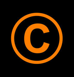 Copyright sign orange icon on black vector