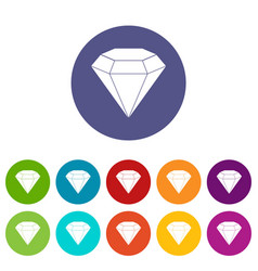 Diamond gemstone icons set flat vector