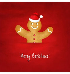 Gingerbread Man With Santa Hat And Old Red vector image vector image