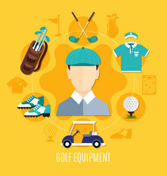 golf equipment round composition vector image vector image