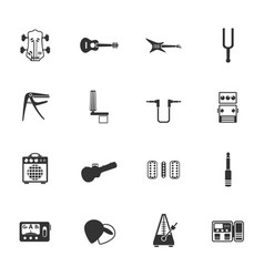 guitar and accessories icon set vector image