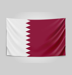 Hanging flag of qatar state of qatar national vector