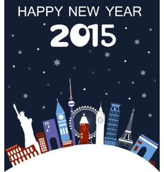 Happy new year travel card vector