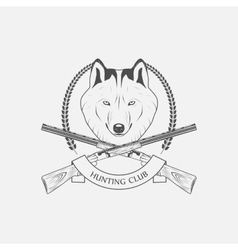 hunting wolves label vector image vector image
