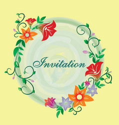 Invitation with flower ornament yellow vector