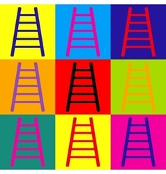 Ladder sign pop-art style icons set vector