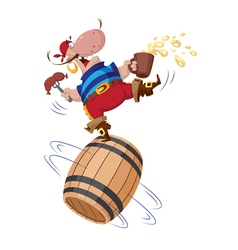 pirate on a barrel vector image