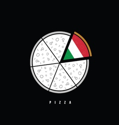 pizza in colorful vector image