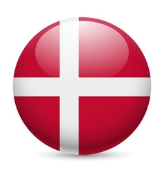 Round glossy icon of denmark vector image