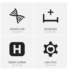 set of 4 editable hospital icons includes symbols vector image vector image