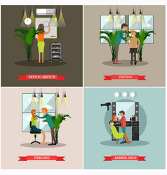 set of barbershop and tattoo studio flat vector image vector image