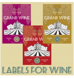 set of labels for wine with grapes vector image