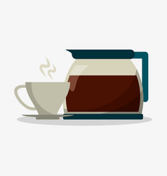 Set porcelain cup of coffee in crockery with glass vector