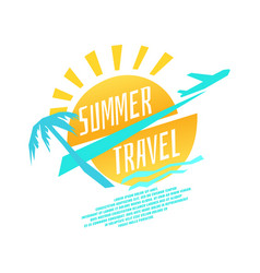 Summer travel with plane vector