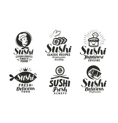 sushi and rolls logo or label japanese food menu vector image