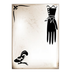 vintage card female glove vector image