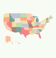 Vintage colorful usa map vector