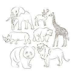 Wild animals set vector