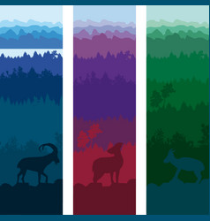 Wild animals vertical banners vector