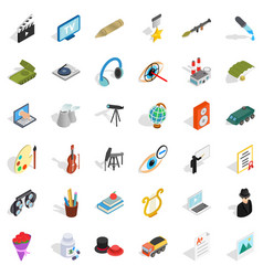 working icons set isometric style vector image