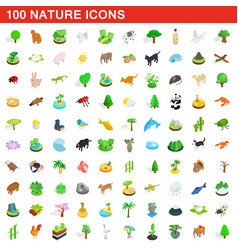 100 nature icons set isometric 3d style vector