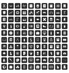 100 school icons set black vector image vector image