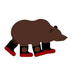 Russian bear in boots russian national animal vector