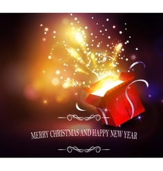 Christmas background with open red box vector