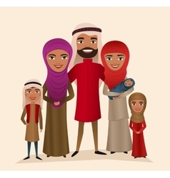 Happy arab family with children vector image