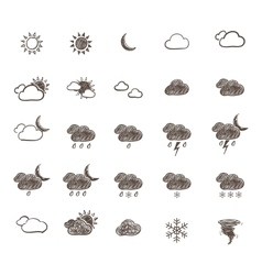Hand Drawn Weather Icon Set vector image