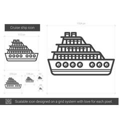 Cruise ship line icon vector
