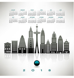 2018 calendar with a stylized cityscape vector