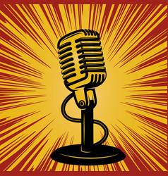 Retro microphone on vintage background design vector