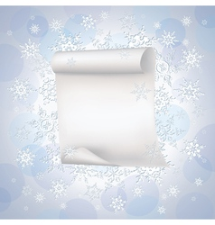 Winter background with paper and snowflakes vector