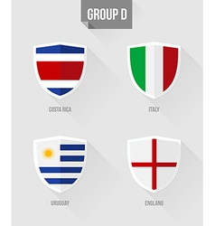 Brazil soccer championship 2014 group d flags vector